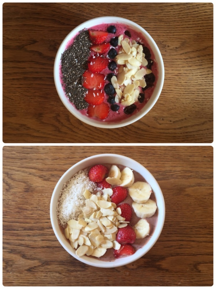 Top: Red berries smoothie topped with chia seeds, strawberries, banana and blueberries.  Bottom: Peanut Butter Chocolate Smoothie topped with desiccated coconut, almond flakes, strawberries and banana
